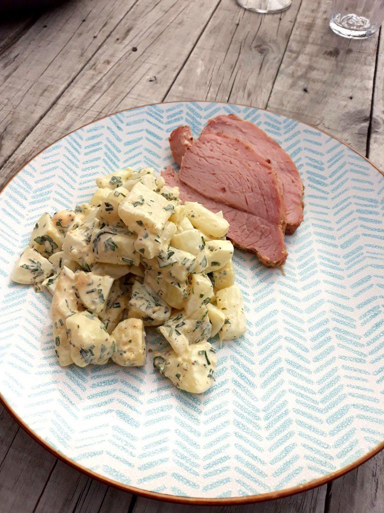asperge-aardappelsalade met plakjes beenham