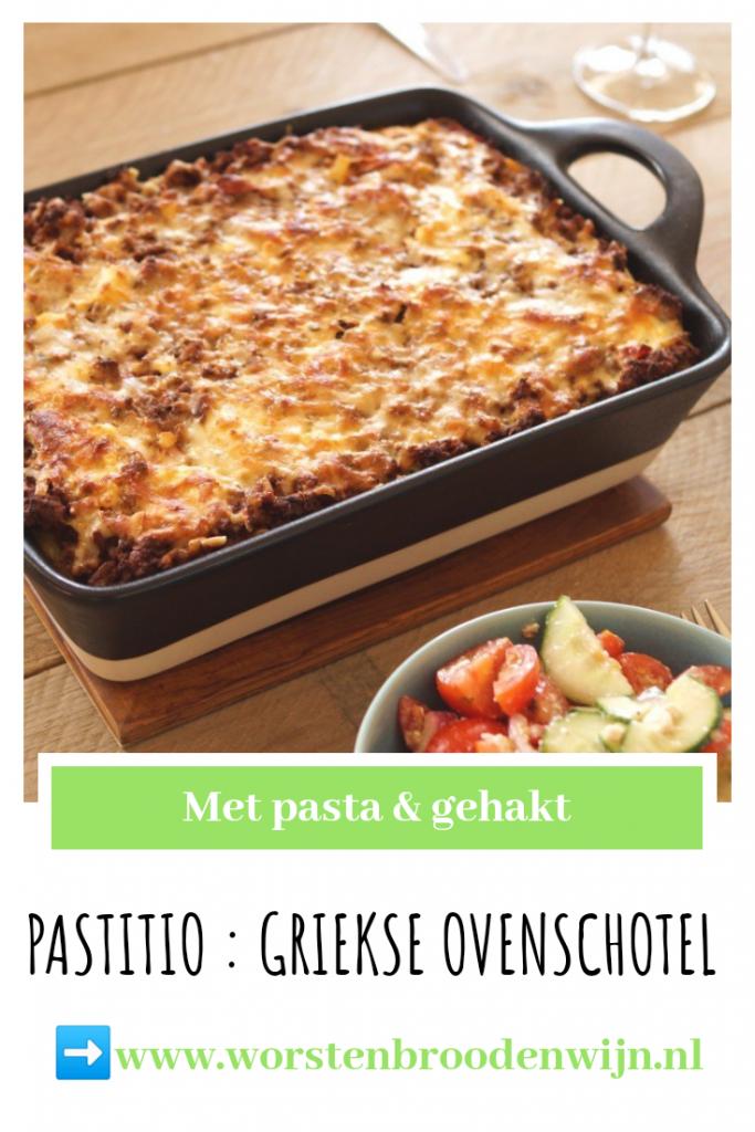 Pastitio Griekse ovenschotel met gehakt en pasta