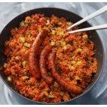 Jamies's couscous met lamsworstjes in pan