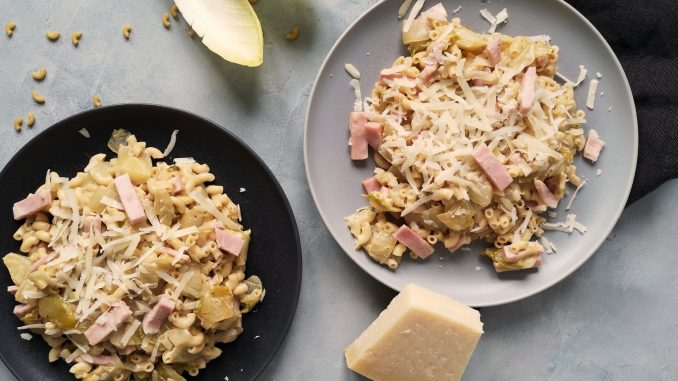 Macaroni met witlof, ham en kaas