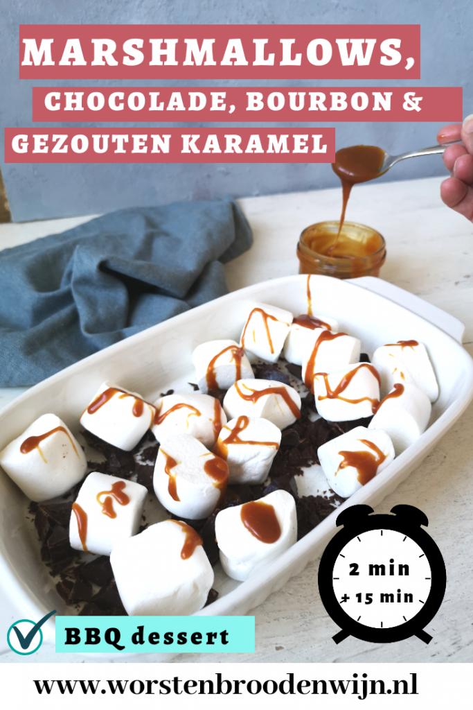 BBQ dessert met marshmallows, chocolade, bourbon en gezouten karamel
