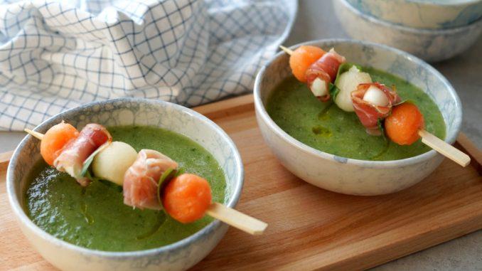 Gazpacho van honingmeloen en komkommer